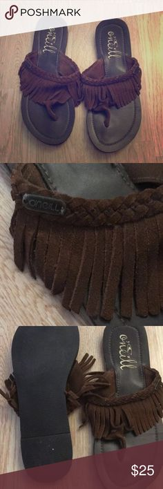 FREE 💄SALE O'NEILL MOCCASIN FRINGE SUEDE SANDAL Worn once. Not my style. O'Neill Shoes Sandals