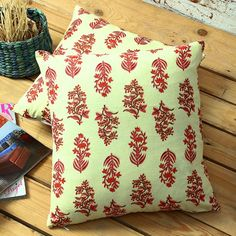 Manasa Floral Block Printed Cushion Covers Ivory & Red Set of Two - FabFurnish.com