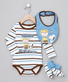 Brown & Blue Stripe 'Charlie Brown' Bodysuit Set