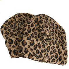 f0ba6199e8ddc Leopard animal print knitted warm beanie
