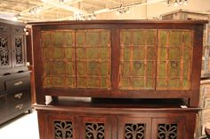 Hutch Cabinet with beautiful wrought iron