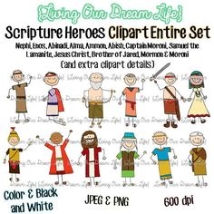 CLIPART entire set of 12: Book of Mormon Stick Figure Scripture Heroes