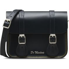 "Dr. Martens 7"" Leather Satchel Bag ($88) ❤ liked on Polyvore featuring bags, handbags, navy blue, satchel handbags, navy leather handbag, leather satchel, genuine leather purse and navy handbag"