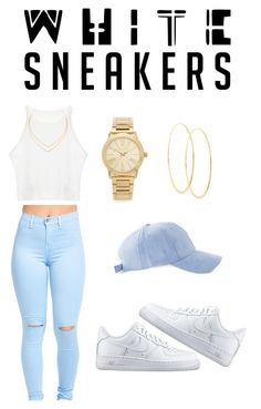 """""""i  white sneakers"""" by superwoman-13 ❤ liked on Polyvore featuring NIKE, Michael Kors and Lana"""