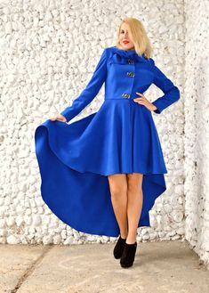 Blue Cashmere Coat / Blue Extravagant Coat / Blue Winter by Teyxo