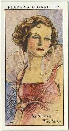 Katharine Hepburn ~ 1934 John Player & Sons Film Stars Tobacco Card, Series 1, #26 on Immortal Ephemera...
