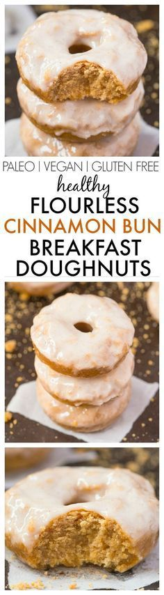 Healthy Flourless Cinnamon Bun Breakfast Doughnuts- Fluffy and satisfying doughnuts made with NO butter, NO oil, NO flour and NO sugar yet tastes amazing- The Glaze is protein packed too! {vegan, gluten free, paleo recipe}- http://thebigmansworld.com