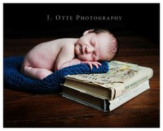 baby photo idea, stack of favourite titles