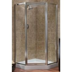 Tides 16-3/4 in. x 24 in. x 16-3/4 in. x 70 in. H. Framed Neo-Angle Shower Door in Brushed Nickel and Clear Glass-TDNA0470-CL-BN at The Home Depot