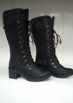 Heel Height is inches. total length of the boot is 15 inches. lace up combat military boots with laces running across 11 eyes all the way up to the top to keep your feet firm and strong. Price: Only Military Combat Boots, Ladies Footwear, Shoe Boots, Shoe Bag, Black Boots, Spring Fashion, Fashion Shoes, Slippers, Lace Up