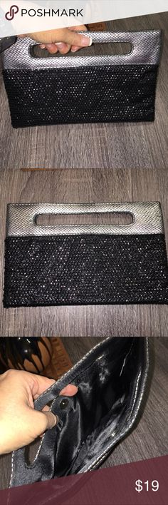 """Sparkly clutch purse Like new envelope clutch with cute handle. Used once or twice. Faux silver snake leather on top and sequin black beading on bottom part. Satin polyester black lining, clean and no signs of wear. 10-1/2"""" across and 6-1/2"""" high. Express Bags Clutches & Wristlets"""