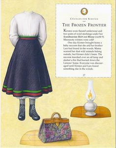 Kirsten Paper Dolls an AMERICAN GIRL by Pleasant Company Publications, 1994: Page 17 (of 26). Even pages are the backs of odds and contain description of outfit and possibly book page (1 through 20)