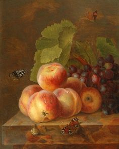 Maria Margaretha van Os - Still Life with Peaches and Grapes, 19th century