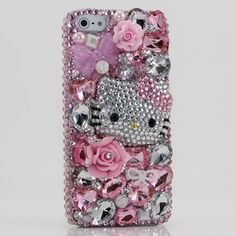 3D Swarovski Pink Hello Kitty Crystal Bling Case Cover faceplate for iphone 5 5G AT Verizon & Sprint (Handcrafted by BlingAngels)
