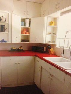 White Kitchen Red Countertop
