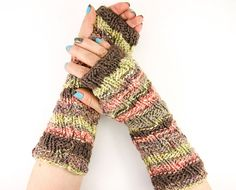 knit fingerless gloves knit arm warmers knitted fingerless mittens fall woodland army green brown wine orange tagt team teamt