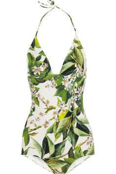 Dolce & Gabbana | Orange blosson-print swimsuit | NET-A-PORTER.COM