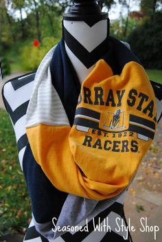 Murray State Upcycled TShirt Infinity Scarf by SeasonedWithStyle