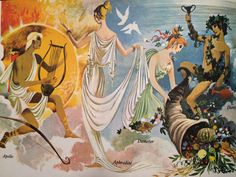 Janet and Anne Grahame Johnstone, Tales of the Greeks and Trojans Water Fairy, Art Deco Bedroom, Ancient Greek Art, Greek Pottery, Witch Art, Fantasy Illustration, Greek Gods, Painting Inspiration, Illustrators