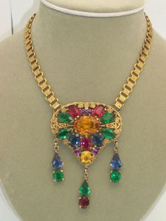 Beautiful Czech Open Back Multi Colored Stone Drippy Necklace Nice Book Chain  looks CHEAP BUT CHIC, say I!