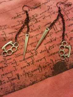 Knuckle and Spike Charm Earrings Silver Knuckles by SpoiledRockN