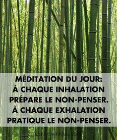 Méditation du jour:à chaque inhalation prépare le non-penser.À chaque exhalation pratique le non-penser.