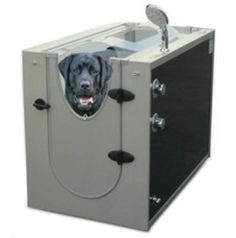 """The $1,250 """"Canine Shower Stall"""" of course!    """"This dog shower has 16 water-jet nozzles and a shower head that wash and rinse your canine in an enclosed space. The jet nozzles produce vigorous streams of water that penetrate even the thickest coats to clean pet hair and remove dead skin cells. A hand-held, adjustable-flow shower head has a 38″ hose that allows you to easily wash and rinse the paws, underbody, and other hard-to-reach areas. Two integrated leashes gently restrain pets and…"""