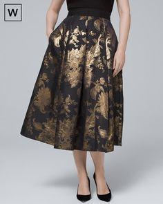 1fba85bde41 White House Black Market Plus Metallic-Floral Full Midi Skirt