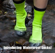 It's about time! Most of us are not going to walk through puddles, rivers or in lakes with our stocking feet. But think about the SHTF and sporting uses for these waterproof socks.