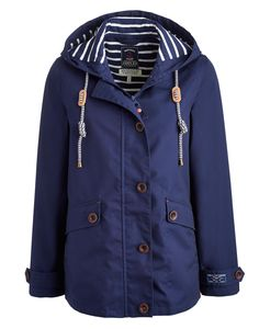 Coast French Navy WoWaterproof Hooded Jacket | Joules US