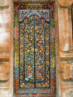 Colorful and ornate enamel door