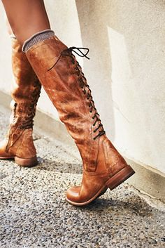 Surry Lace Back Boot | Super soft leather tall boots in a rugged silhouette with lace-up detailing in back and a stacked heel. Inside zip closure for an easy on-off.