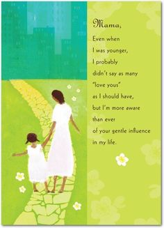 Gentle Influence - Mother's Day Greeting Cards - Hallmark - Bright Green - Green : Front