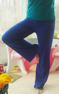 DIY Yoga Pants from a PJ pant pattern and Nancy Dress Free Pattern download.