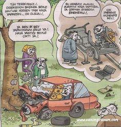- Tüh terbiyesiz!.. Direksiyon başında böyle haltlar yersen tabi kaza yaparsın... Oh olsun!..  + Ya ben bi şey yapmıyodum valla ya!.. Hava yastığı böyle çıktı ya!.. - Bu arabayı alanın suratını kaza yaptığında görmek isterdim ehehehu!.. + Çok ipnesiniz mühendis bey!..  #karikatür #mizah #matrak #komik #espri #şaka #gırgır #komiksözler