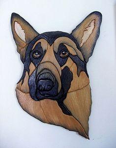Geman Shepherd..Original Painted Intarsia Art