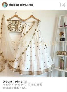 Classy white color lehenga and blouse with embroidery thread work with Geethika Kanumilli. 16 May 2017 Indian Lehenga, Silk Lehenga, Anarkali, Lehenga White, Silk Dupatta, Ghagra Choli, Lehenga Blouse, Indian Wedding Outfits, Indian Outfits