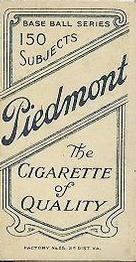 1909-11 The American Tobacco Company T206 White Border #156 Bull Durham Back