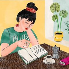 Caffè, capelli raccolti, agenda, blocco per gli appunti e pensieri che come sempre - dopo la corsa - si affollano per poi scorrere fluidi... Illustrazione @bodiljane  #frizzifrizzi #illustration