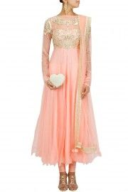 Pink gota and pearl embroidered yoke anarkali set
