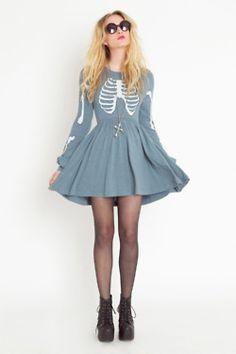 skeleton dress, rock fashion