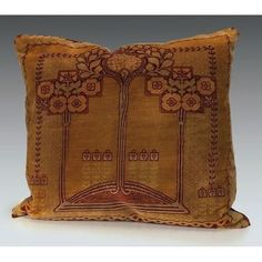 """Exceptional Arts & Crafts pillow, colorful embroidered design of flowering trees, 17""""sq"""