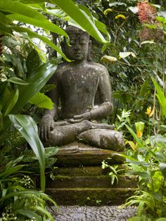 A Statue of buddha Sits Serenely in Gardens, Ubud, Bali