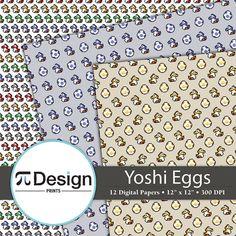 Cute Yoshi Egg Pattern 12x12 Digital Paper Pack by PiDesignPrints