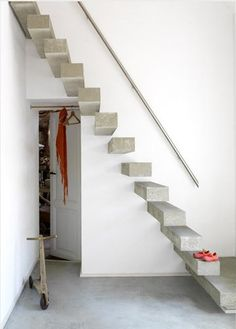 Alternate idea: make these floating stairs into pocket/slide out stairs that lead to the attic. (All or several at once--not each one slides out--that would not be time efficient.)