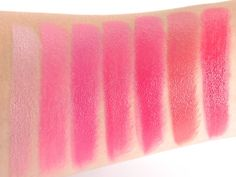 L'Oreal 'Les Pinks' Colour Riche Lipcolor Swatches (L-R) Ballerina Shoes, I Pink You're Cute, Pink Flamingo, Miss Magenta, Wisteria Rose, Everbloom & Raspberry Rush. Credit: Beautezine