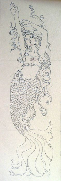 Art Nouveau mermaid ~ would be BEAUTIFUL watercolor tattoo idea.