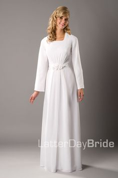 Modest Wedding Dress, Brigham | LatterDayBride & Prom -Modest Mormon LDS Temple Dress