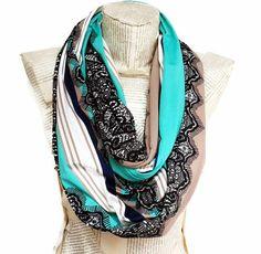 FALL SCARF Jersey Knit Lightweight Black Lace Print by HeraScarf, $24.90