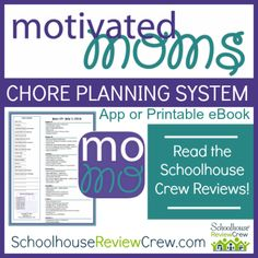 """Motivated Moms is a unique and straightforward chore planning system is for moms who are trying to balance creative endeavors with their desire to have an orderly and organized environment in their homes.""""   #homeschool #hsreviews #organization"""